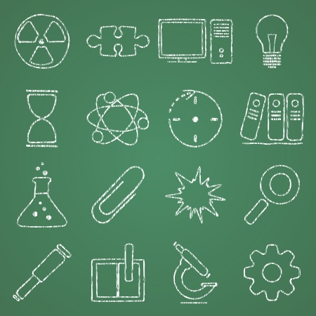 illustration of icons on the topic of science