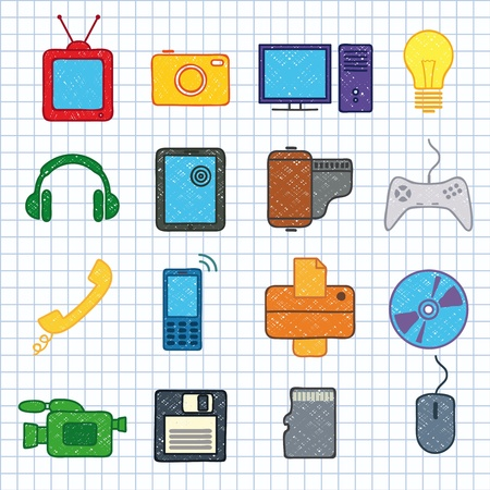images on electronics Vector