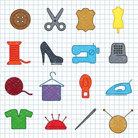 tailoring: illustration of icons on the subject of sewing
