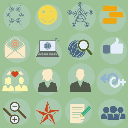 illustration of icons on the topic of social network Vector