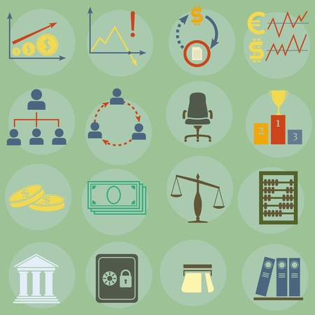 Vector illustration of icons on finance Stock Vector - 16659326