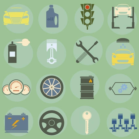 illustration of icons on car repairs