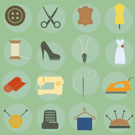 needle and thread:  illustration of icons on clothing Illustration