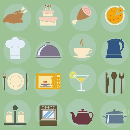 gas cooker:  illustration of icons on the topic of food and cuisine