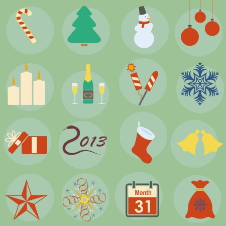 icons on the theme of Christmas Vector