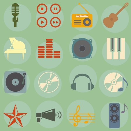illustration of icons on music Stok Fotoğraf - 16721642