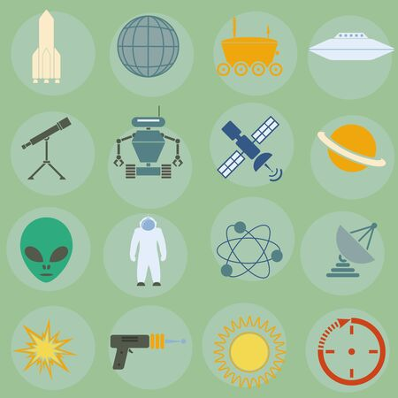 icons on the theme of outer space Stock Vector - 16721669