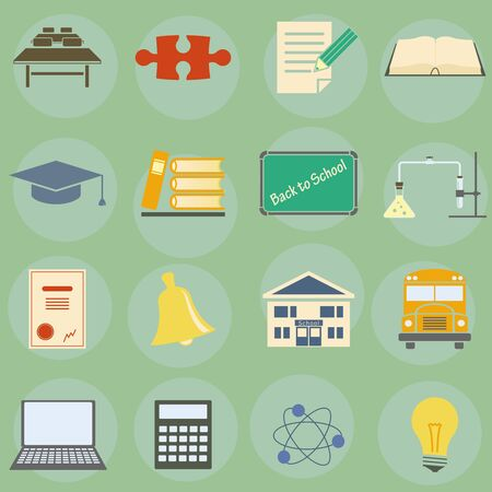 Vector illustration of icons on the topic of school Stock Vector - 16900166