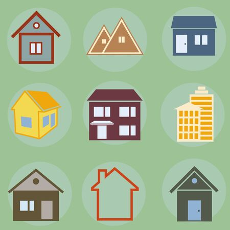 small group of object: Vector icons of houses Illustration