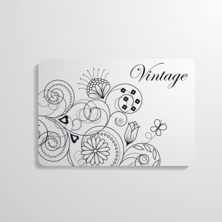 cutaway drawing: Vector illustration of business card with a floral image