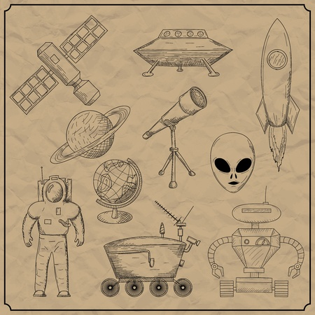 Vector illustration on Space Objects  Vector