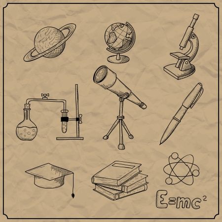 Vector illustration of objects on the topic of science