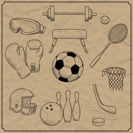 vector illustration of objects on the topic of sports Vector