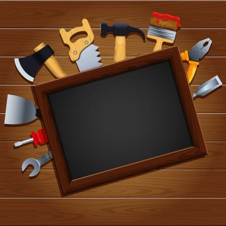 carpenter tools:  illustration of a set of tools Illustration