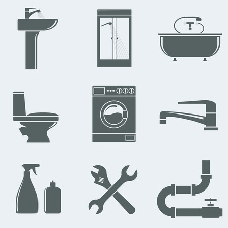 pipe wrench: Vector illustration of icons on a theme plumbing Illustration