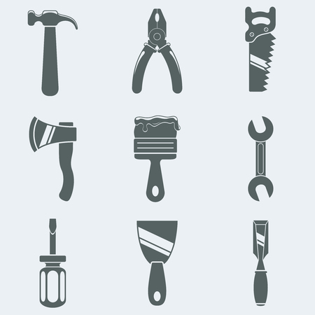 pliers: Vector illustration of icons of hand tools