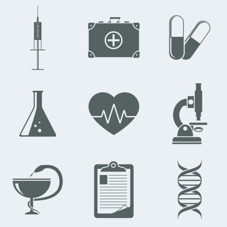 a snake in a bag: Vector illustration of icons on a theme medicine Illustration