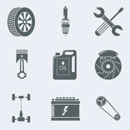 Vector illustration of icons on a theme of mechanics Vector