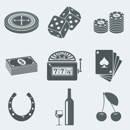 Vector illustration of icons on a theme of gambling Vector