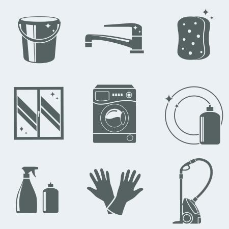 Vector illustratie van pictogrammen op een thema van het schoonmaken
