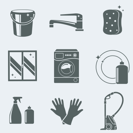 Vector illustration of icons on a theme of cleaning Vector