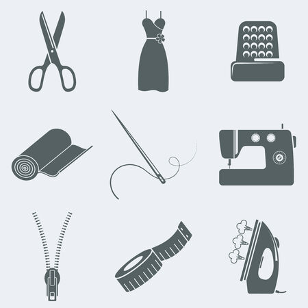 Vector illustration of icons on a theme of sewing Vektorové ilustrace