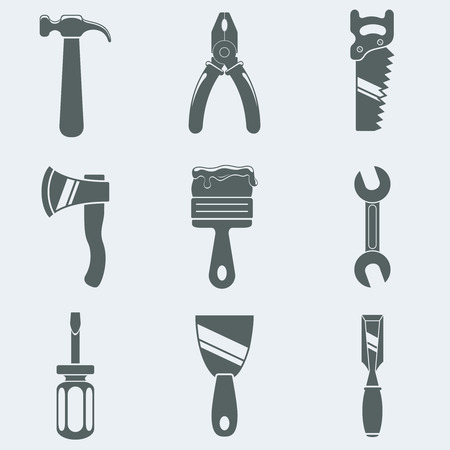 chisel: Vector illustration of icons of hand tools