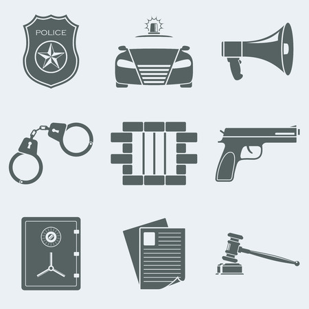 police badge: Vector illustration of icons on a theme of police