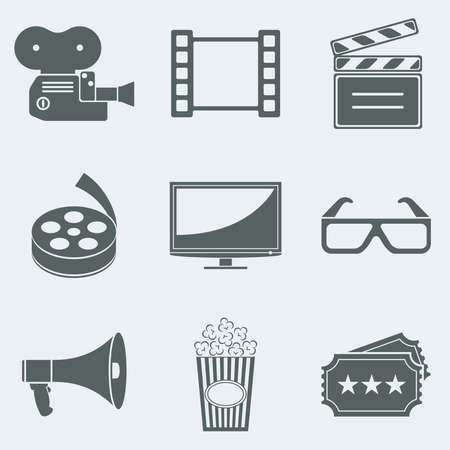 communications equipment: Vector illustration of icons on a theme movie