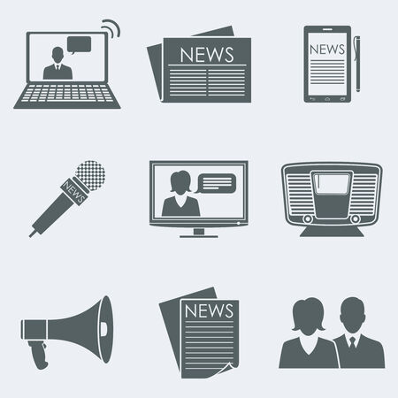 Vector illustration of icons on a theme the news Çizim