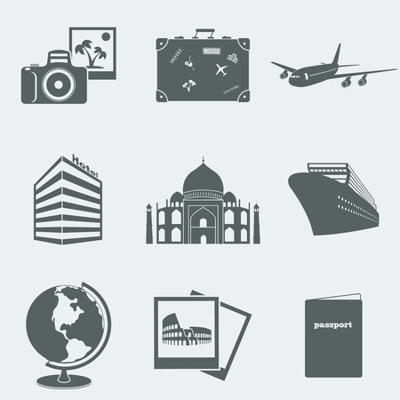 Vector illustration of icons on a theme of tourism Stok Fotoğraf - 28131597