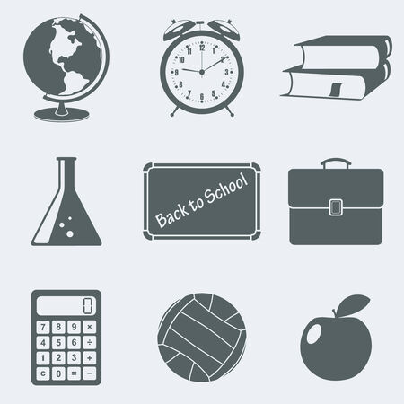 Vector illustration of icons on a theme school