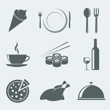 food tray: Vector illustration of icons on a theme meal