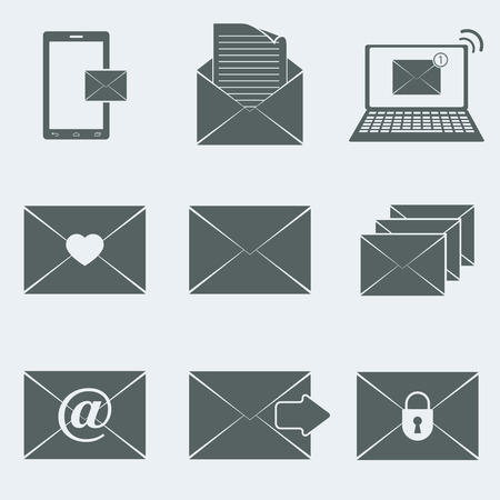 Vector illustration of icons on a theme-mail
