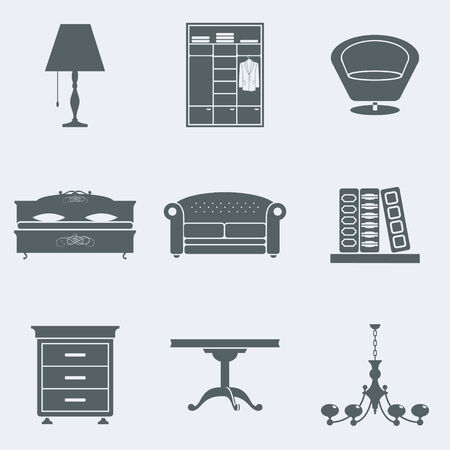 Vector set of silhouettes of furniture
