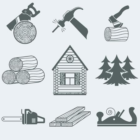 Vector illustratie van pictogrammen op hout Stock Illustratie