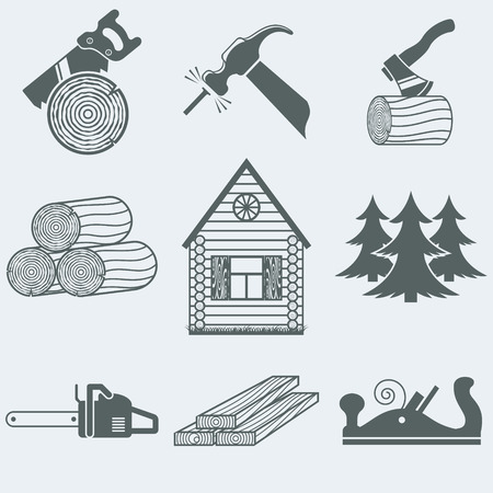 Vector illustration of icons on wood Vector