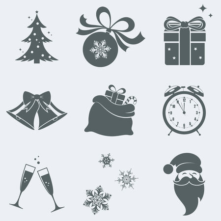 Vector illustration of icons on a theme of new year Çizim