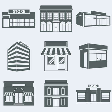 retail shop: Vector illustration silhouettes of buildings shops