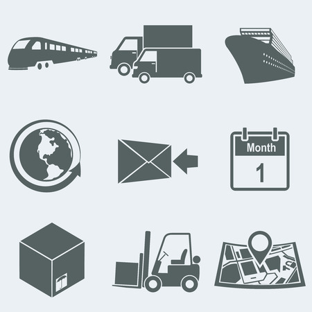 Vector illustration of icons on a theme of cargo transportation