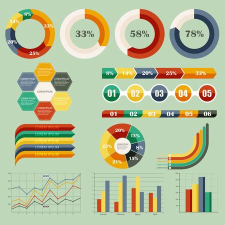 Vector illustration set of infographics Çizim
