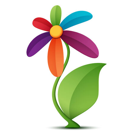 Vector illustration of a flower on a white background. Çizim