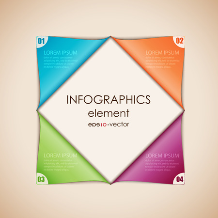 Vector illustration of abstract infographics. Square cut diagonally and disclosed. Çizim