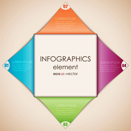 disclosed: Vector illustration of abstract infographics. Square cut diagonally and disclosed. Illustration