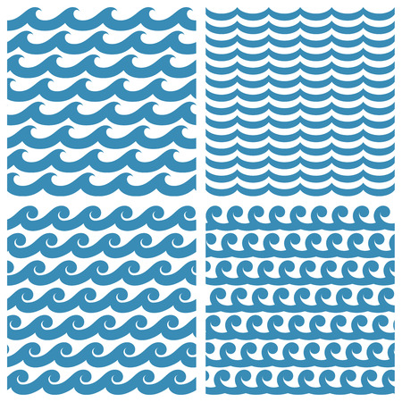Set of seamless textures with a symbolic image of waves Çizim