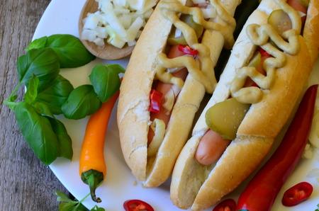 wiener dog: Delicious Chicago style hot dog with chilli on wood background Stock Photo