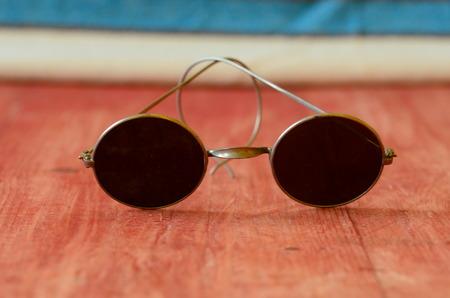 wayfarer: Retro sunglasses on brown wooden background