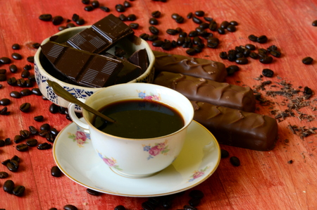 excelsior: Different chocolate bars and coffee beans and peels of chocolate