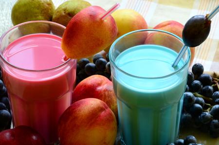Two fresh fruit smoothies on white background Stock Photo