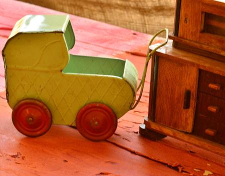 retro furniture: Set of vintage childrens toys. Delightful retro furniture and pram